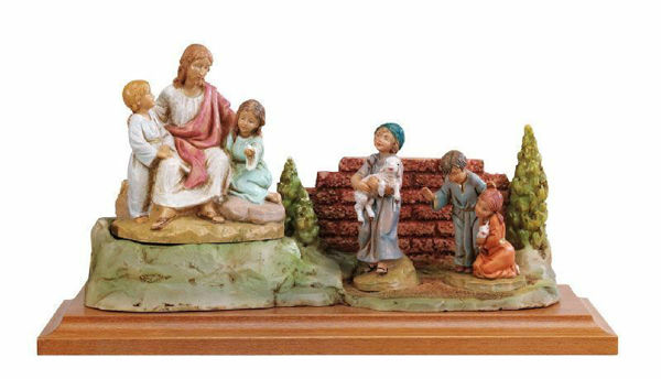 Picture of Jesus with Children cm 12 (5 Inch) Life of Christ Scene Fontanini Nativity Statue hand painted in Plastic (PVC)