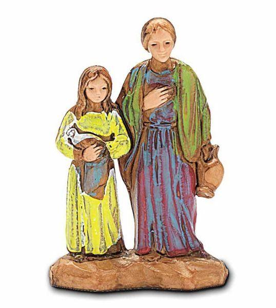 Immagine di Donna e Bimba con Colomba cm 3,5 (1,4 inch) Presepe Landi Moranduzzo in PVC stile Napoletano