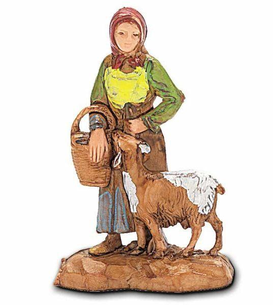 Immagine di Donna con Capra cm 3,5 (1,4 inch) Presepe Landi Moranduzzo in PVC stile Napoletano