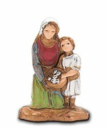 Picture of Kneeling woman with little Girl cm 3,5 (1,4 inch) Landi Moranduzzo Nativity Scene in PVC, Neapolitan style
