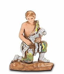 Picture of Young Shepherd with Lamb cm 3,5 (1,4 inch) Landi Moranduzzo Nativity Scene in PVC, Neapolitan style