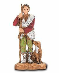 Picture of Shepherd with Dog cm 3,5 (1,4 inch) Landi Moranduzzo Nativity Scene in PVC, Neapolitan style