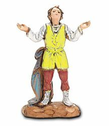 Picture of Amazed Shepherd cm 3,5 (1,4 inch) Landi Moranduzzo Nativity Scene in PVC, Neapolitan style