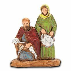 Picture of Woman with kneeling Shepherd cm 3,5 (1,4 inch) Landi Moranduzzo Nativity Scene in PVC, Neapolitan style