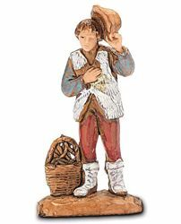 Picture of Shepherd with Basket and Hat cm 3,5 (1,4 inch) Landi Moranduzzo Nativity Scene in PVC, Neapolitan style