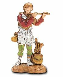 Picture of Shepherd with Flute cm 3,5 (1,4 inch) Landi Moranduzzo Nativity Scene in PVC, Neapolitan style
