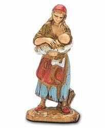 Picture of Gypsy Woman with Baby cm 3,5 (1,4 inch) Landi Moranduzzo Nativity Scene in PVC, Neapolitan style