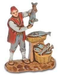 Picture of Fishmonger cm 3,5 (1,4 inch) Landi Moranduzzo Nativity Scene in PVC, Neapolitan style