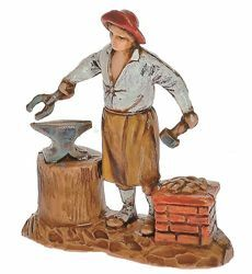 Picture of Blacksmith cm 3,5 (1,4 inch) Landi Moranduzzo Nativity Scene in PVC, Neapolitan style