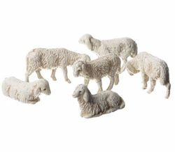 Picture of 6 Sheep Set cm 3,5 (1,4 inch) Landi Moranduzzo Nativity Scene in PVC, Neapolitan style