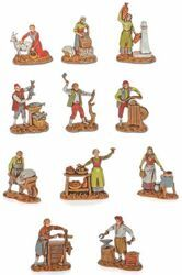 Picture of 11 Trades Set cm 3,5 (1,4 inch) Landi Moranduzzo Nativity Scene in PVC, Neapolitan style
