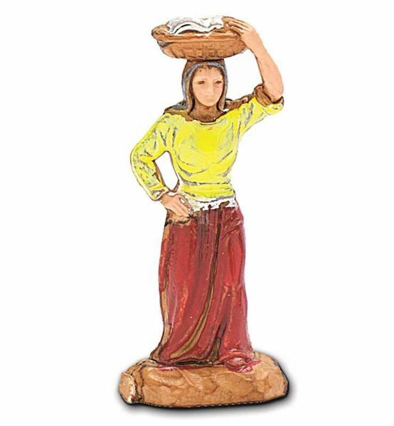 Immagine di Donna con Cesto in testa cm 3,5 (1,4 inch) Presepe Landi Moranduzzo in PVC stile Napoletano