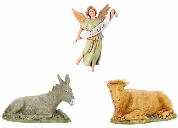 Picture of Ox, Donkey and Glory Angel cm 10 (3,9 inch) Landi Moranduzzo Nativity Scene in PVC, Arabic style