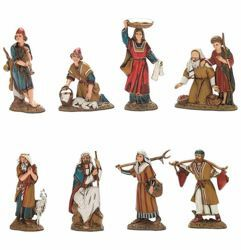 Picture of 8 Shepherds Set cm 10 (3,9 inch) Landi Moranduzzo Nativity Scene in PVC, Arabic style