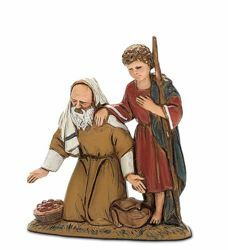 Picture of Amazed Shepherd with Boy cm 10 (3,9 inch) Landi Moranduzzo Nativity Scene in PVC, Arabic style