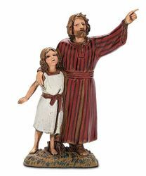 Picture of Man with little Girl cm 10 (3,9 inch) Landi Moranduzzo Nativity Scene in PVC, Arabic style