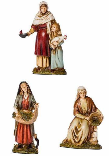 Immagine di Gruppo Donne contadine 3 Soggetti cm 10 (3,9 inch) Presepe Landi Moranduzzo in PVC stile Arabo