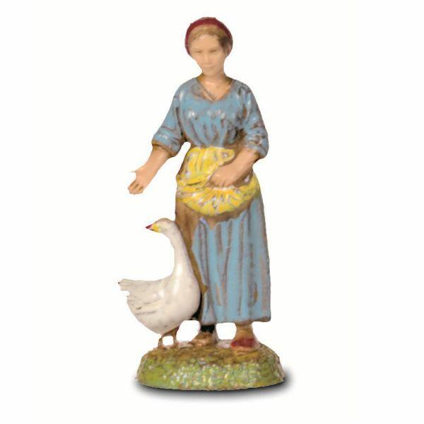 Imagen de Mujer con Ganso cm 6 (2,4 inch) Belén Landi Moranduzzo en PVC, estilo Napolitano