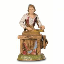 Picture of Carpenter cm 6 (2,4 inch) Landi Moranduzzo Nativity Scene in PVC, Neapolitan style