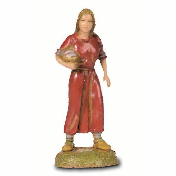 Imagen de Mujer con Cesta cm 6 (2,4 inch) Belén Landi Moranduzzo en PVC, estilo Napolitano
