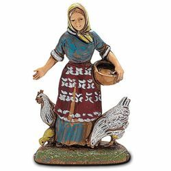 Picture of Peasant Woman with Chickens cm 6 (2,4 inch) Landi Moranduzzo Nativity Scene in PVC, Neapolitan style