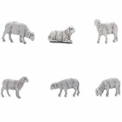 Picture of 6 Sheep Set cm 6 (2,4 inch) Landi Moranduzzo Nativity Scene in PVC, Neapolitan style
