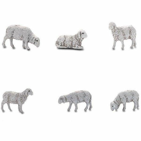 Immagine di Gruppo 6 Pecore cm 6 (2,4 inch) Presepe Landi Moranduzzo in PVC stile Napoletano