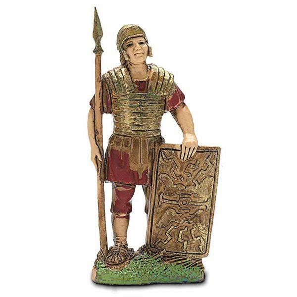 Imagen de Soldado romano con Escudo cm 6 (2,4 inch) Belén Landi Moranduzzo en PVC, estilo Napolitano