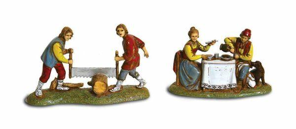 Picture of 4 Subjects Set cm 6 (2,4 inch) Landi Moranduzzo Nativity Scene in PVC, Neapolitan style