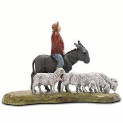 Immagine di Uomo su Asino con Pecore cm 6 (2,4 inch) Presepe Landi Moranduzzo in PVC stile Napoletano