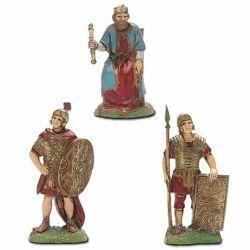 Immagine di Re Erode e 2 Soldati romani cm 6 (2,4 inch) Presepe Landi Moranduzzo in PVC stile Napoletano