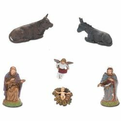 Picture of Holy Family Set 6 pcs cm 6 (2,4 inch) Landi Moranduzzo Nativity Scene in PVC, Neapolitan style