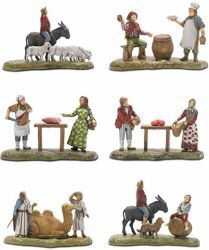 Picture of 5 Subjects Set cm 6 (2,4 inch) Landi Moranduzzo Nativity Scene in PVC, Neapolitan style