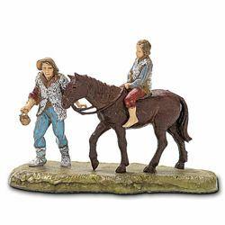 Immagine di Uomo con Bimbo a Cavallo cm 6 (2,4 inch) Presepe Landi Moranduzzo in PVC stile Napoletano