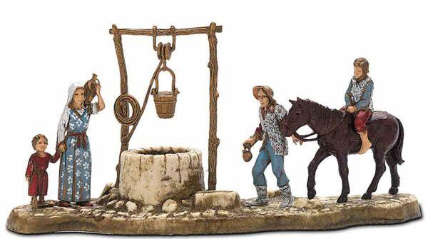 Picture of Water Well Set cm 6 (2,4 inch) Landi Moranduzzo Nativity Scene in PVC, Neapolitan style