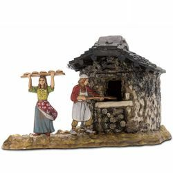 Picture of Oven Set cm 6 (2,4 inch) Landi Moranduzzo Nativity Scene in PVC, Neapolitan style