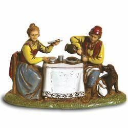 Immagine di Gruppo Uomo e Donna al Tavolo cm 6 (2,4 inch) Presepe Landi Moranduzzo in PVC stile Napoletano