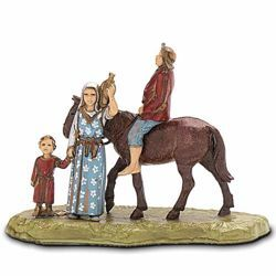 Immagine di Gruppo Uomo a Cavallo con Famiglia cm 6 (2,4 inch) Presepe Landi Moranduzzo in PVC stile Napoletano