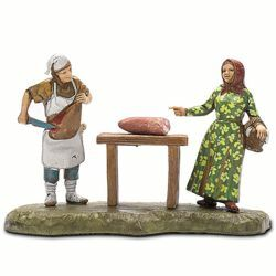 Picture of Butcher Set cm 6 (2,4 inch) Landi Moranduzzo Nativity Scene in PVC, Neapolitan style