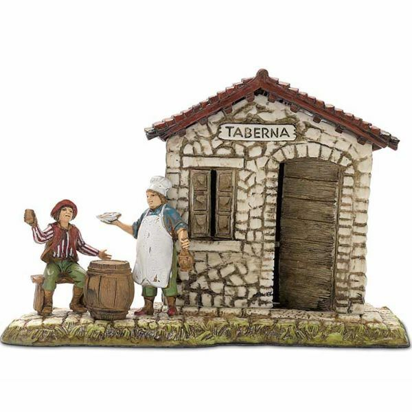 Immagine di Gruppo Taverna cm 6 (2,4 inch) Presepe Landi Moranduzzo in PVC stile Napoletano