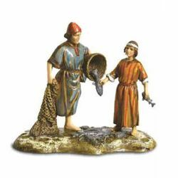 Picture of Fishermen Set cm 10 (3,9 inch) Landi Moranduzzo Nativity Scene in PVC, Arabic style