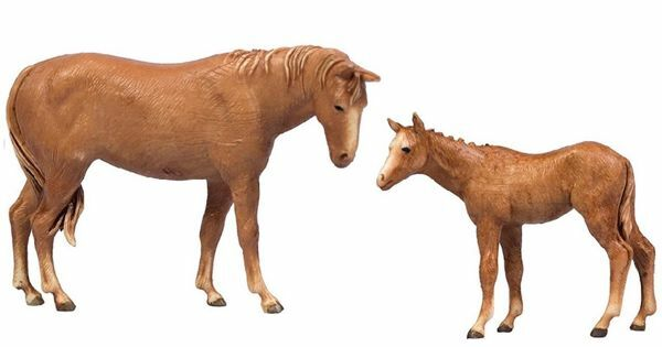 Picture of Horse with Foal cm 8 (3,1 inch) Landi Moranduzzo Nativity Scene in PVC, Neapolitan style