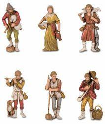 Picture of 6 Shepherds Set cm 8 (3,1 inch) Landi Moranduzzo Nativity Scene in PVC, Neapolitan style