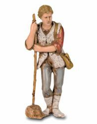 Picture of Shepherd with Stick cm 8 (3,1 inch) Landi Moranduzzo Nativity Scene in PVC, Neapolitan style