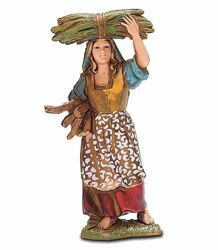 Picture of Female Peasant with Wood cm 8 (3,1 inch) Landi Moranduzzo Nativity Scene in PVC, Neapolitan style