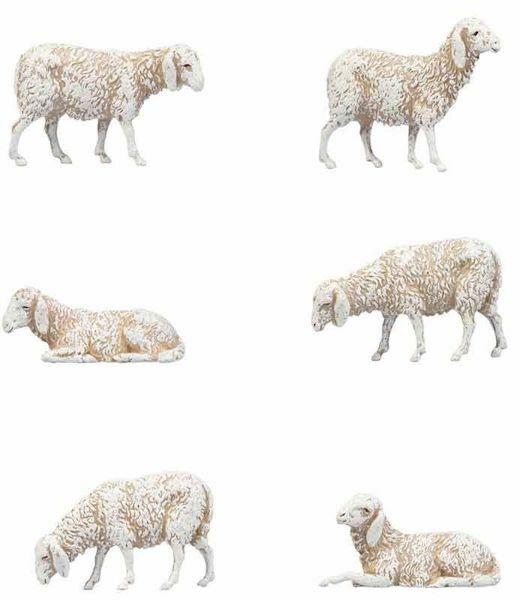 Immagine di Gruppo 6 Pecore cm 8 (3,1 inch) Presepe Landi Moranduzzo in PVC stile Napoletano