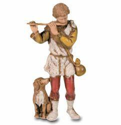 Picture of Shepherd with Flute cm 8 (3,1 inch) Landi Moranduzzo Nativity Scene in PVC, Neapolitan style