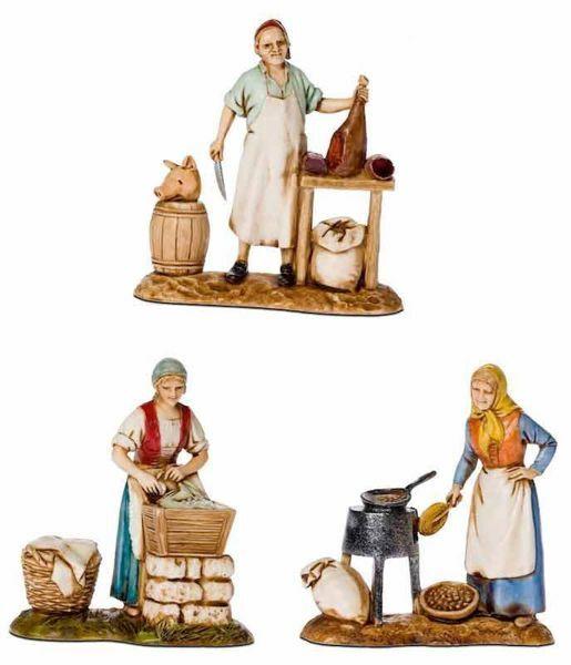 Picture of 3 Trades Set cm 8 (3,1 inch) Landi Moranduzzo Nativity Scene in PVC, Neapolitan style