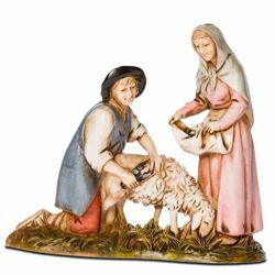 Picture of Sheep Shearer Set cm 8 (3,1 inch) Landi Moranduzzo Nativity Scene in PVC, Neapolitan style