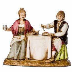 Picture of Couple at the Table cm 8 (3,1 inch) Landi Moranduzzo Nativity Scene in PVC, Neapolitan style